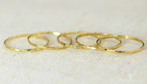 Set of 10 Super Thin 14k Gold Stackable Rings