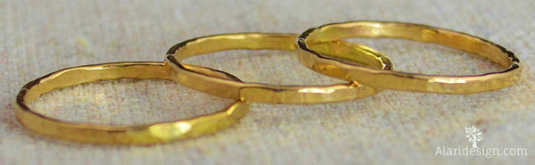 Set of 10 Classic 14k Gold Stackable Rings