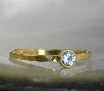 Dainty Solid 14k Gold Aquamarine Ring