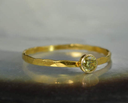 Dainty Solid 14k Gold Topaz Ring