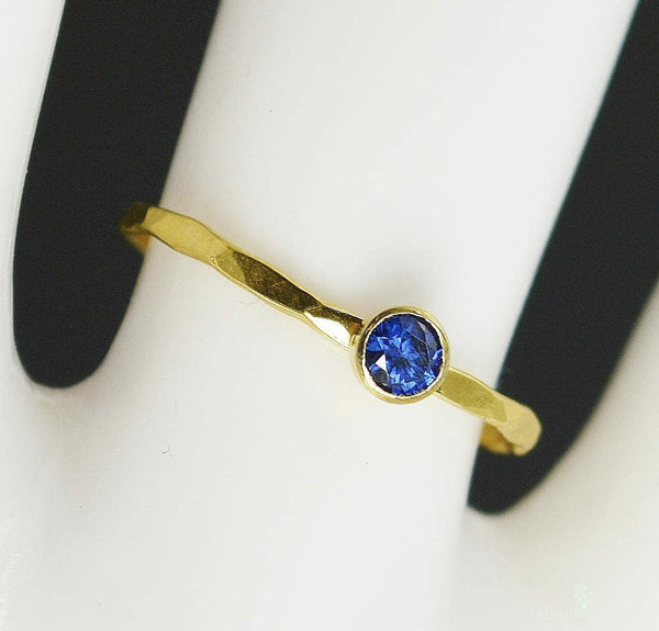 Dainty Solid 14k Gold Sapphire Ring