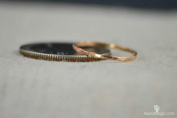 Set of 15 Super Thin 14k Rose Gold Rings