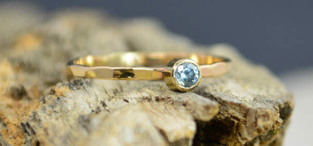 Classic Solid 14k Gold Aquamarine Ring