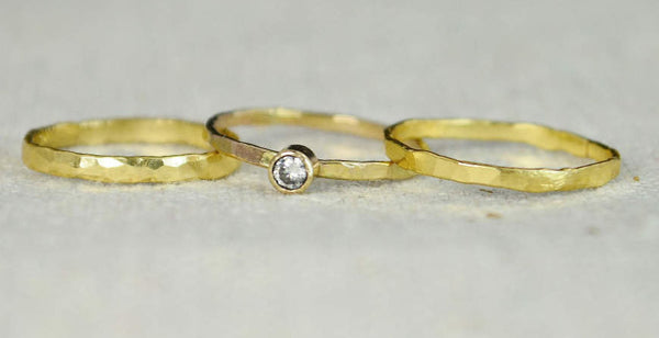 Classic Solid 14k Gold CZ Diamond Ring