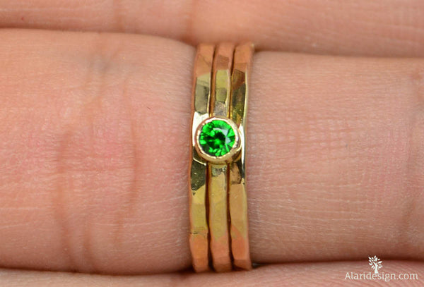 Classic Solid 14k Gold Emerald Ring