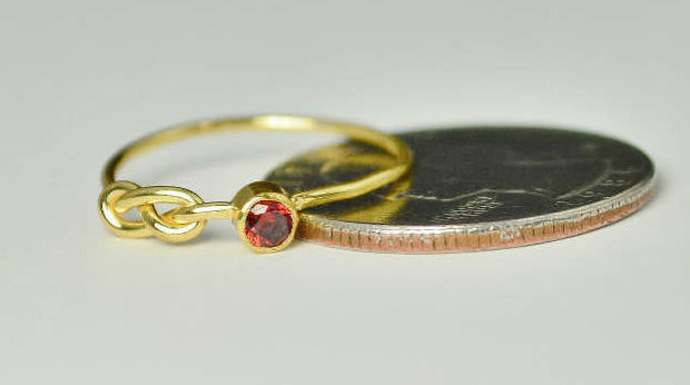 Solid 14k Gold Garnet Infinity Ring
