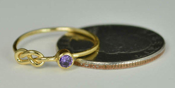 Solid 14k Gold Amethyst Infinity Ring