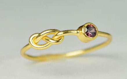 Solid 14k Gold Alexandrite Infinity Ring