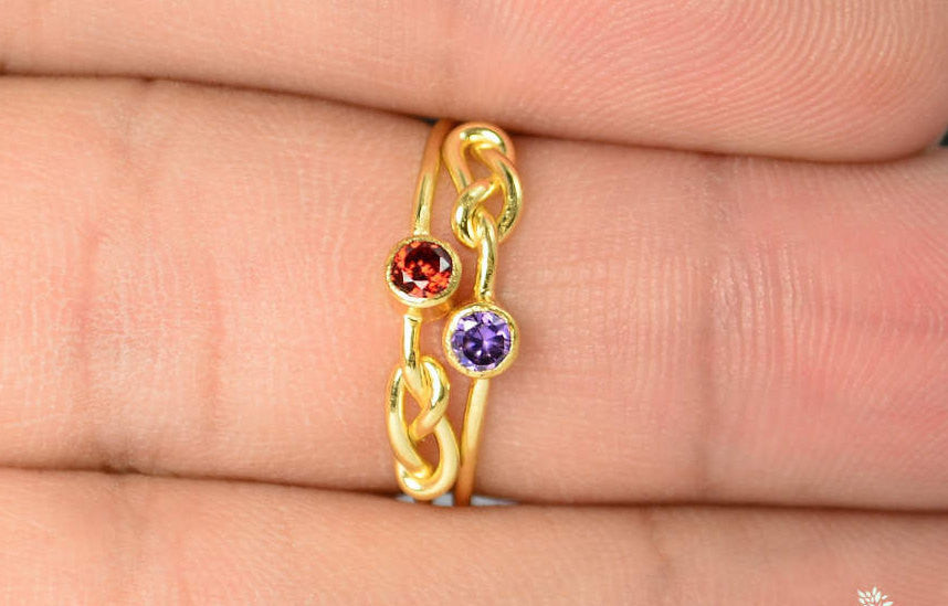 Gold Filled Garnet Infinity Ring
