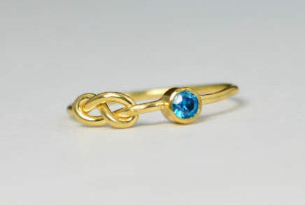 14k Blue ZIrcon Infinity Ring