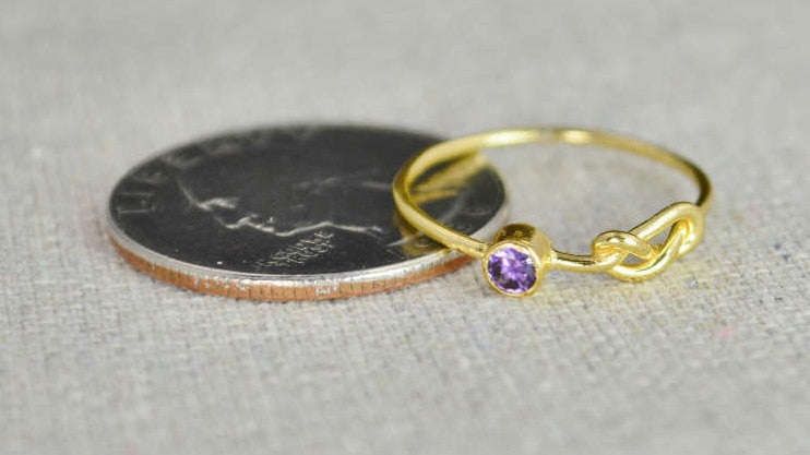 Gold Amethyst Infinity Ring