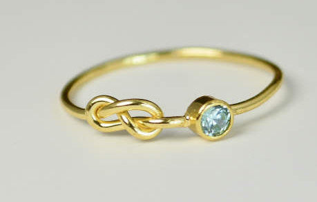 Solid 14k Gold Aquamarine Infinity Ring