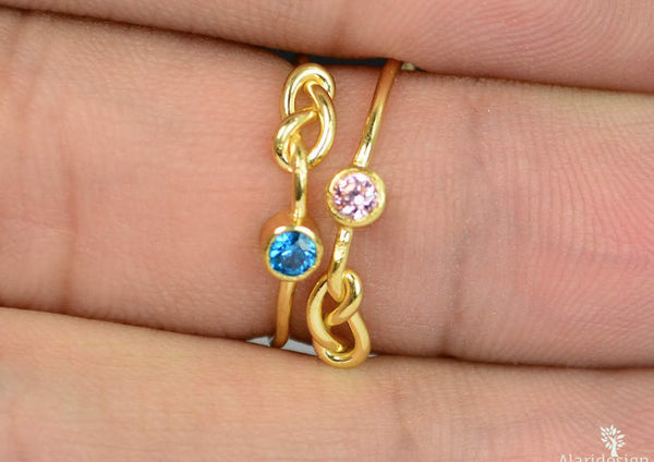 14k Gold Filled Blue Zircon Infinity Ring