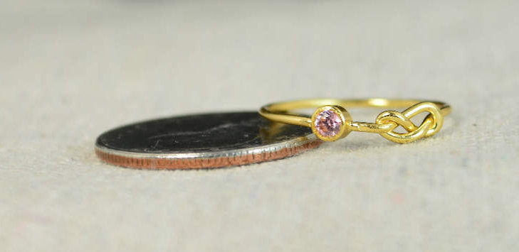 Gold Filled Pink Tourmaline Infinity Ring