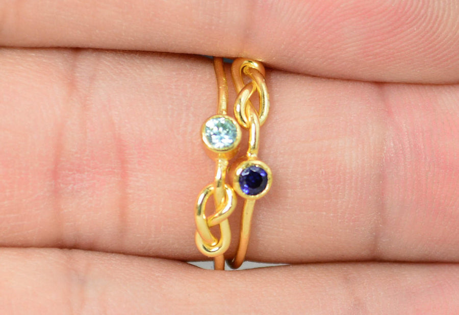 Gold Filled Aquamarine Infinity Ring