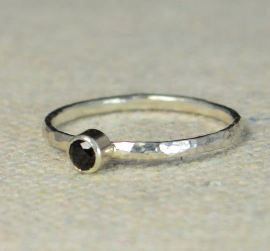 Sterling Silver Natural Black Spinel Ring