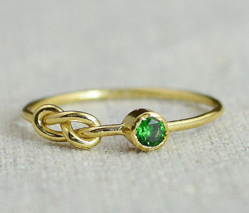 Gold Filled Emerald Infinity Ring