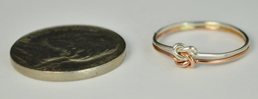 Dainty Silver and Rose Gold Double Knot Ring