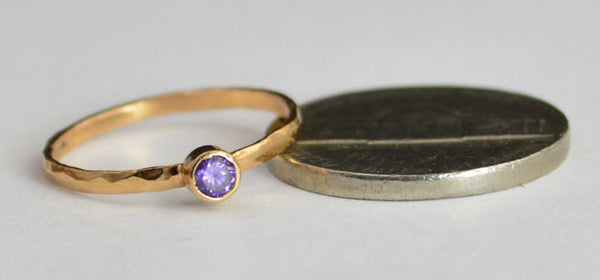 Classic Solid 14k Rose Gold Amethyst Ring