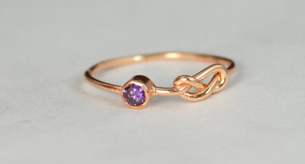 Solid 14k Rose Gold Amethyst Infinity Ring