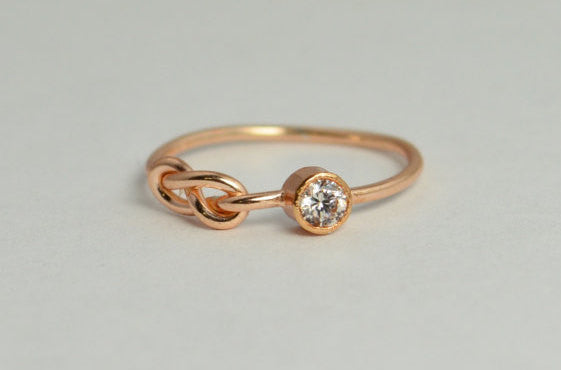 Solid 14k Rose Gold CZ Diamond Infinity Ring