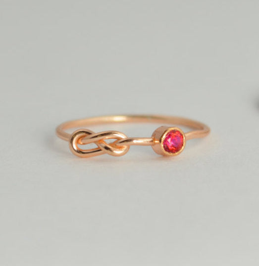 Rose Gold Filled Ruby Infinity Ring