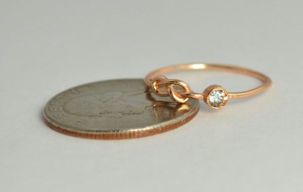 Solid 14k Rose Gold Aquamarine Infinity Ring