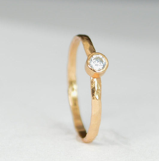 Classic Solid 14k Rose Gold CZ Diamond Ring