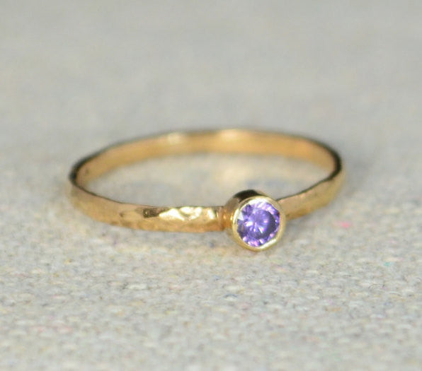 Classic Rose Gold Filled Amethyst Ring