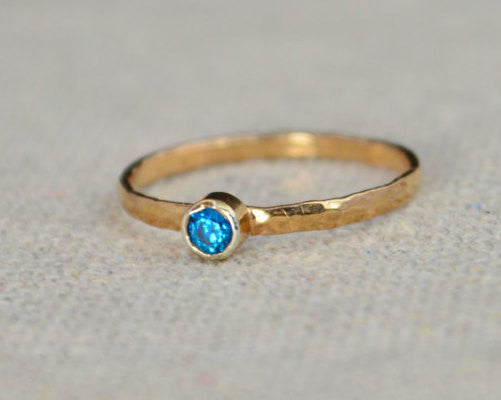 Classic Rose Gold Filled Blue Zircon Ring