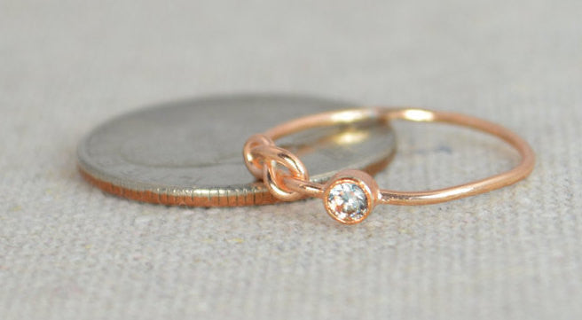 Rose Gold Filled Aquamarine Infinity Ring