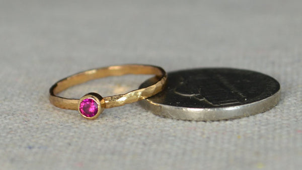 Classic Rose Gold Filled Ruby Ring