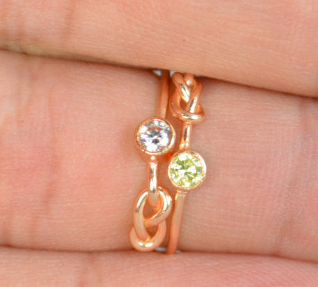 Rose Gold Filled Peridot Infinity Ring