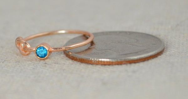 Rose Gold Filled Blue Zircon Infinity Ring