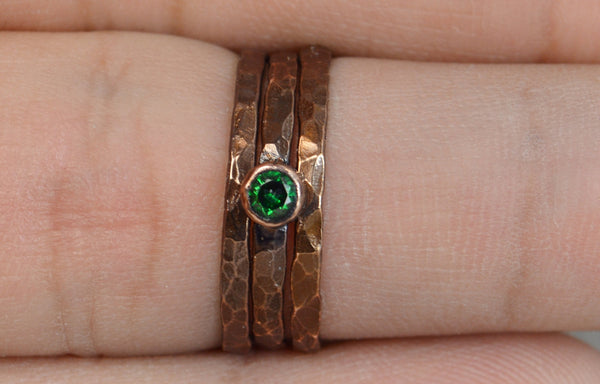 Classic Bronze Copper Emerald Ring