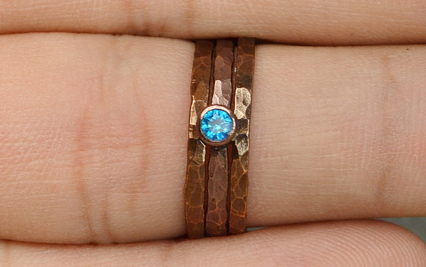 Classic Bronze Copper Blue Zircon Ring