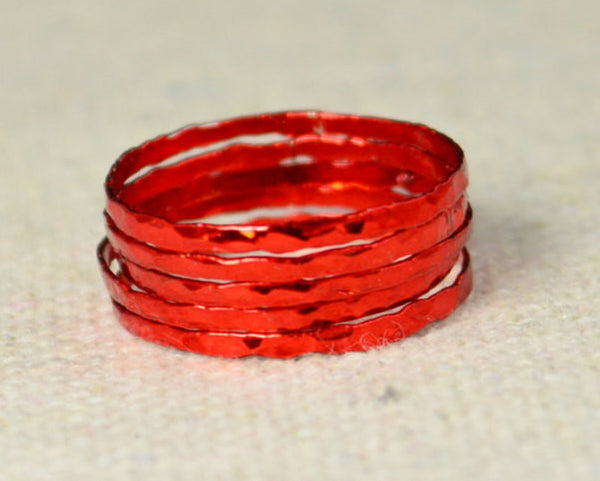Super Thin Red Silver Stackable Rings