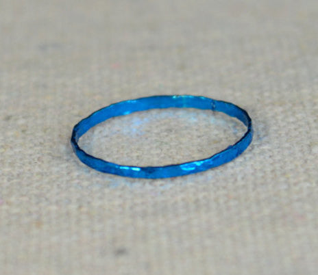 Super Thin Turquoise Silver Stackable Rings