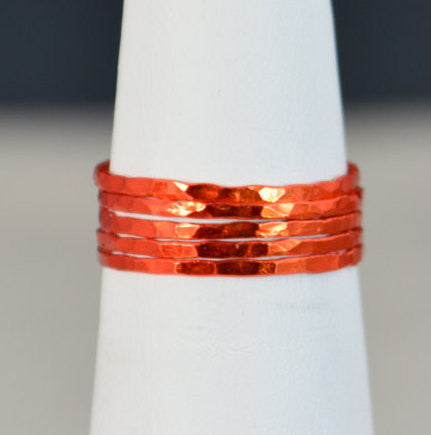 Set of 5 Super Thin Orange Silver Stackable Rings
