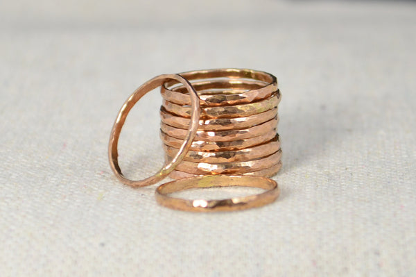 Set of 10 Classic Rose Gold Stackable Rings