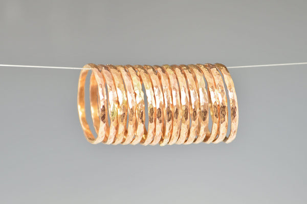 Set of 15 Classic Rose Gold Stackable Rings