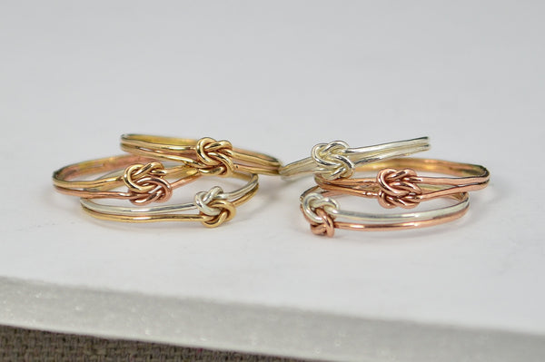 Dainty Gold and Rose Gold Double Knot Ring