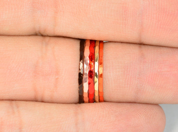 Set of 5 Super Thin Thanksgiving Inspired Rings