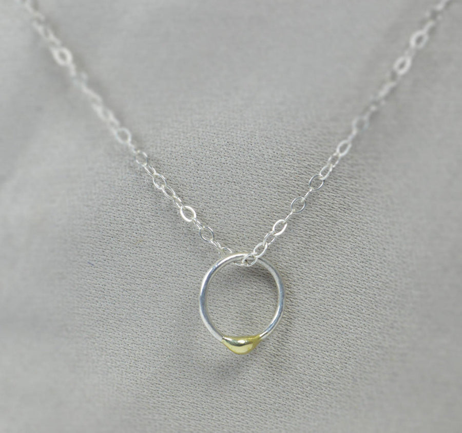 Silver and Solid 14k Gold Dew Drop Necklace