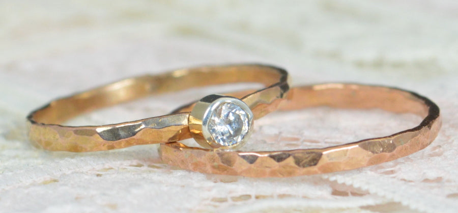 Solid 14k Rose Gold Diamond Engagement Ring