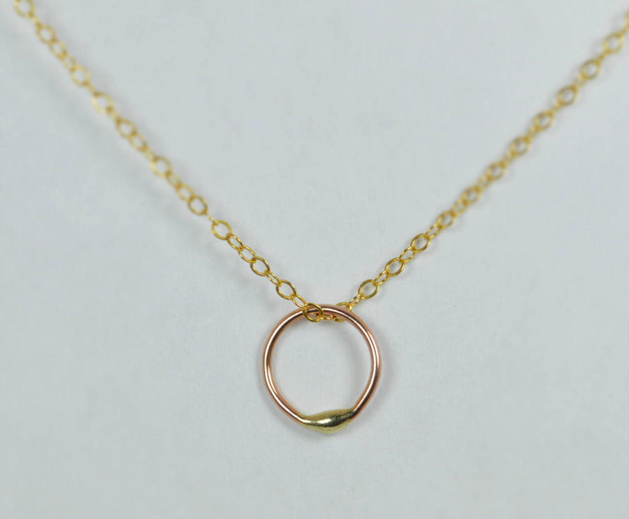 Solid 14k Gold Dew Drop and Solid Rose Gold Necklace