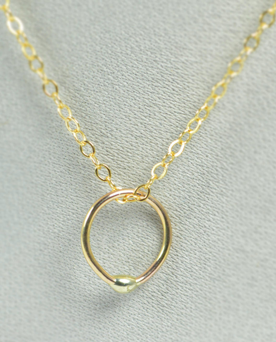 Solid 14k Gold Dew Drop Necklace