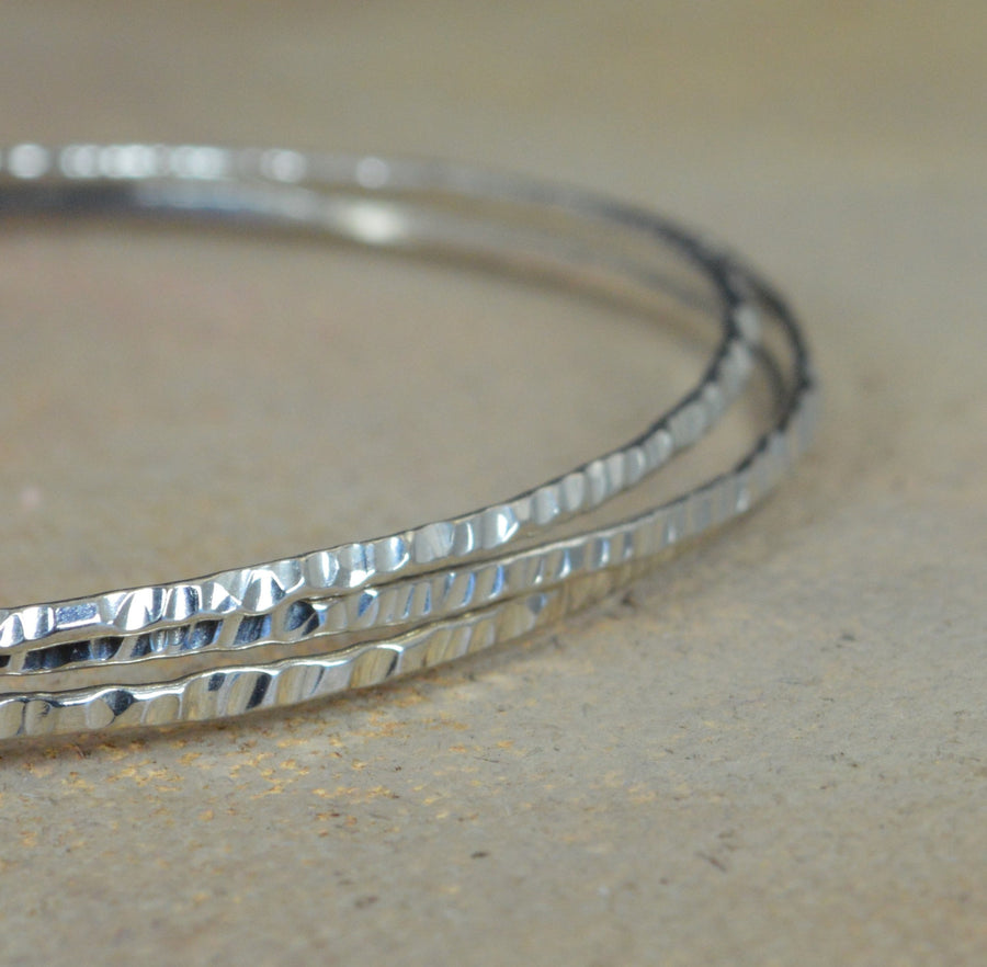 Thin Sterling Silver Tree Bark Bangles