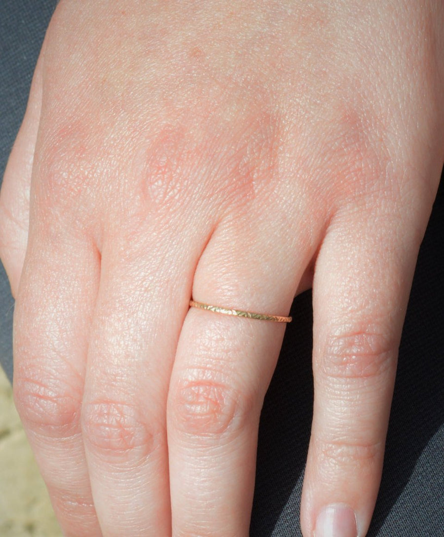 Rustic 14k Gold Zigzag Wedding Ring - A19