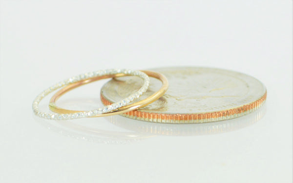 Gold and Faceted Silver Ring Set